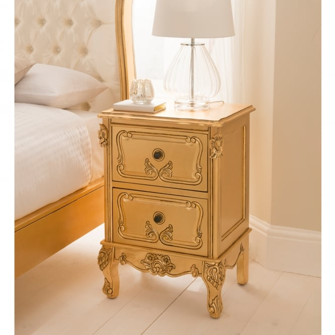 Baroque Gold Leaf Antique French Style Bedside