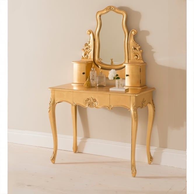 Baroque Gold Leaf Antique French Style Dressing Table