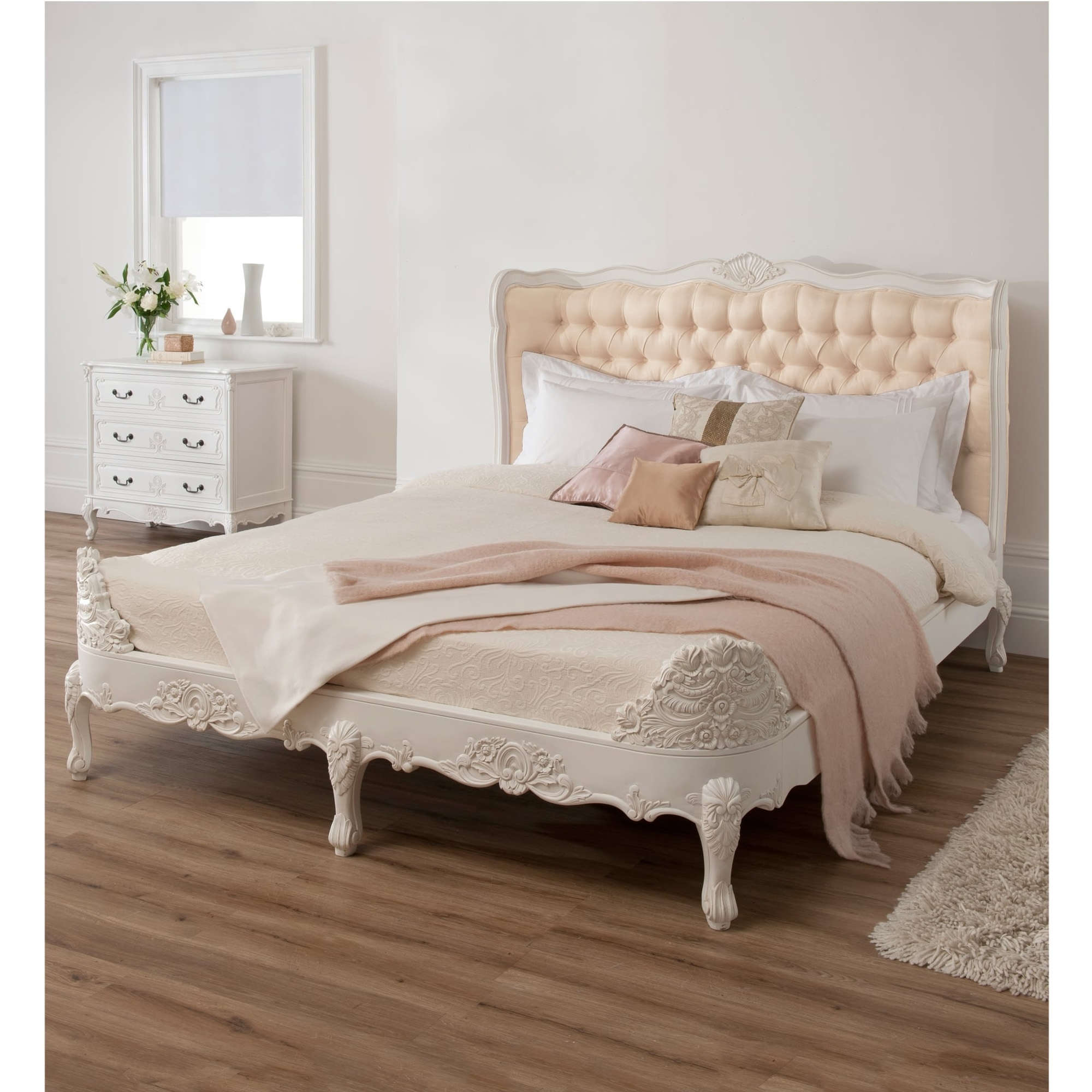 White Baroque Upholstered Bed Hand Carved Antique French