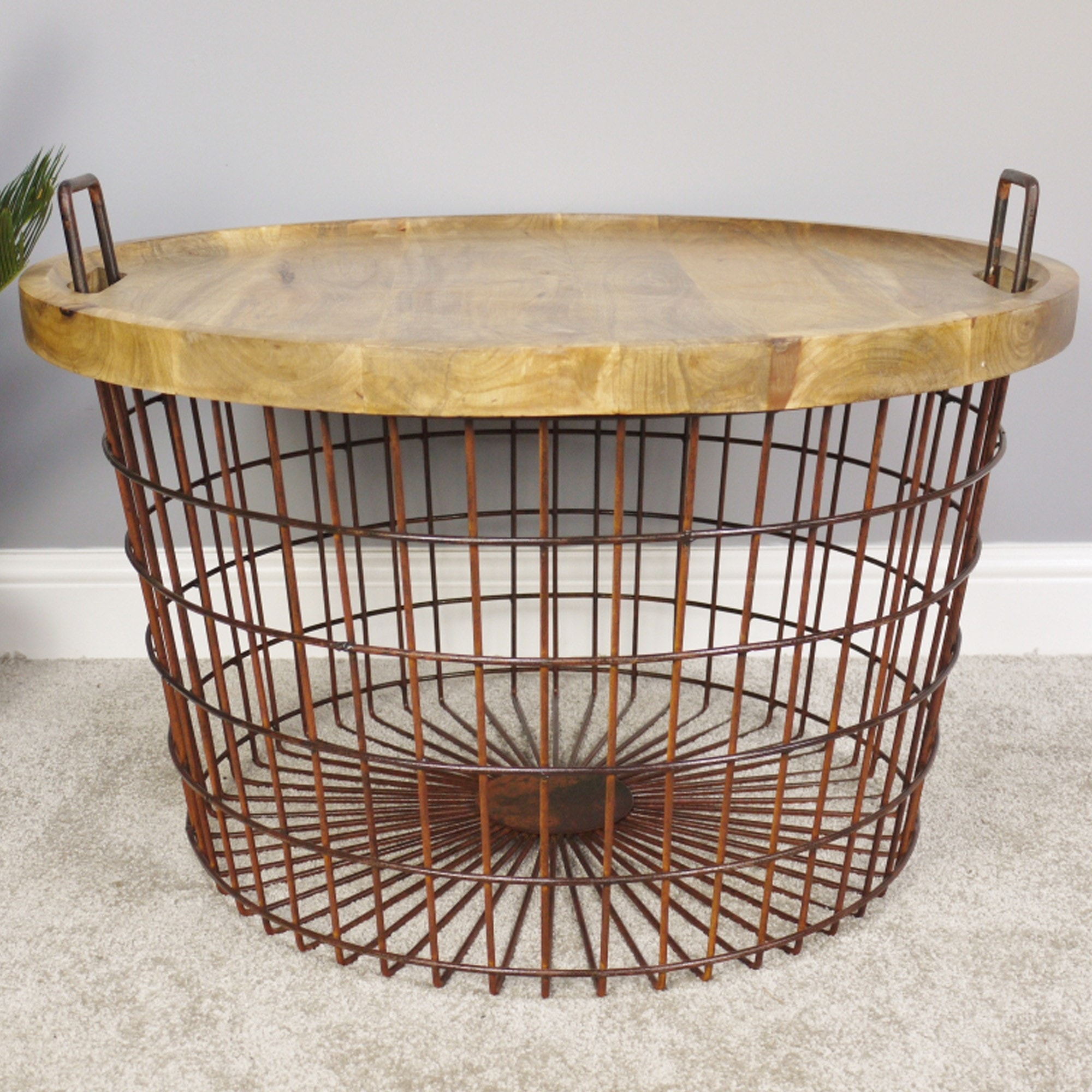 Basket With Wood Lid Home Accessories Basket And Tins