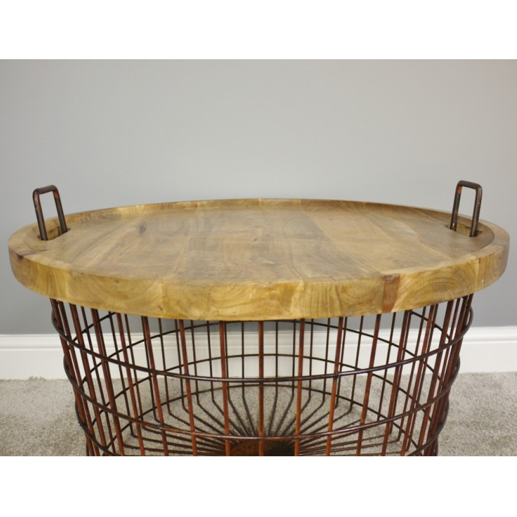 Picture of: Basket With Wood Lid Home Accessories Basket And Tins