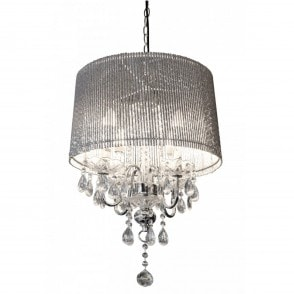 Conical Silver Tube Shade Chandelier