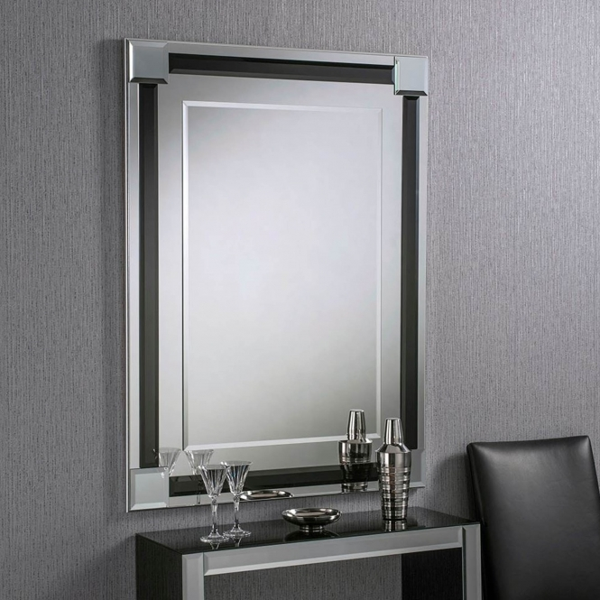 Bevelled Contemporary Rectangular Black Wall Mirror