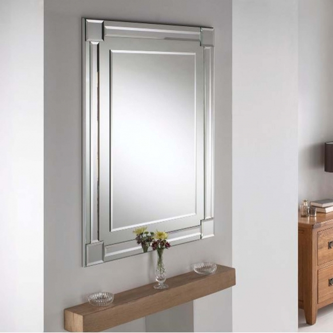 Bevelled Contemporary Rectangular Silver Wall Mirror