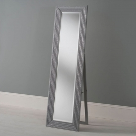 Bevelled Grey and Silver Cheval Mirror