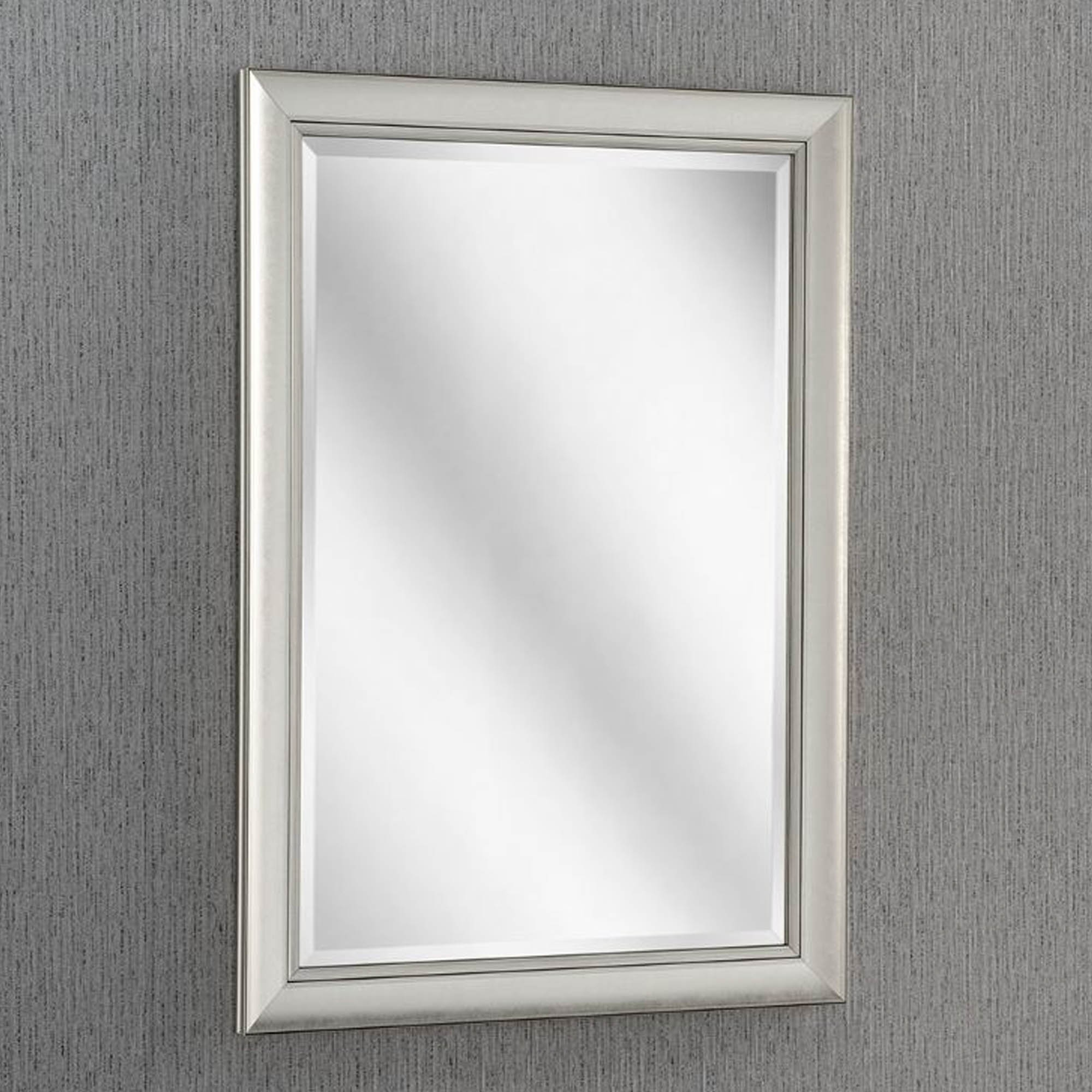 Bevelled Modern Silver Wall Mirror Homesdirect365