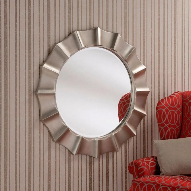 Bevelled Round Silver Wall Mirror