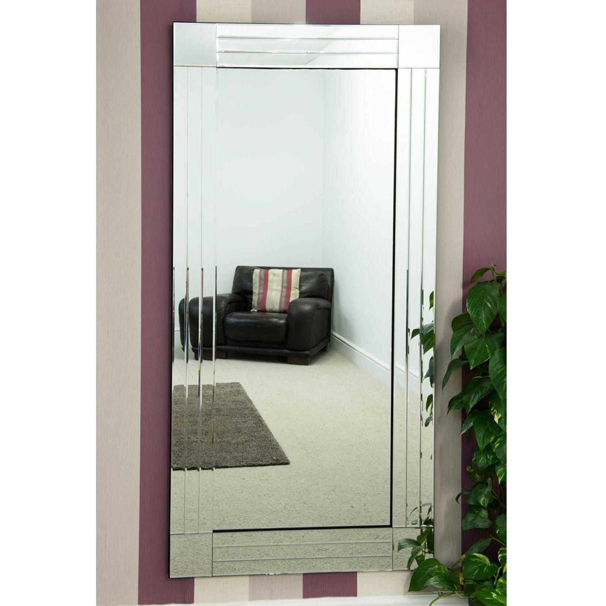 Bevelled Tall Thin Venetian Frameless Wall Mirror ...