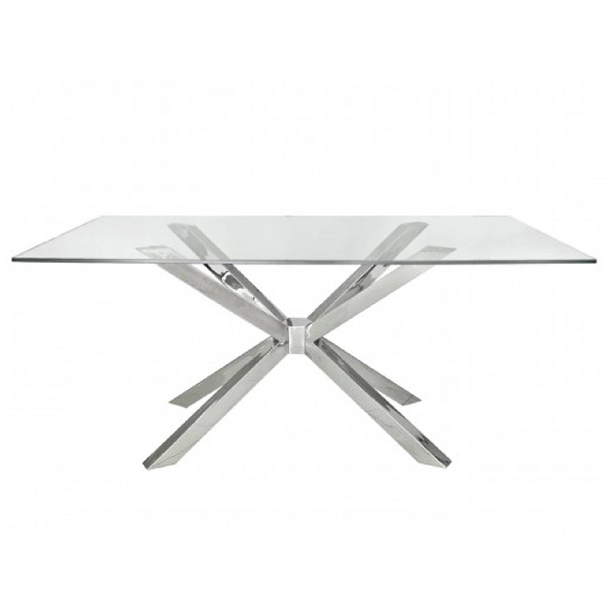 Picture of: Prato Rectangular Glass And Chrome Dining Table Contemporary Dining