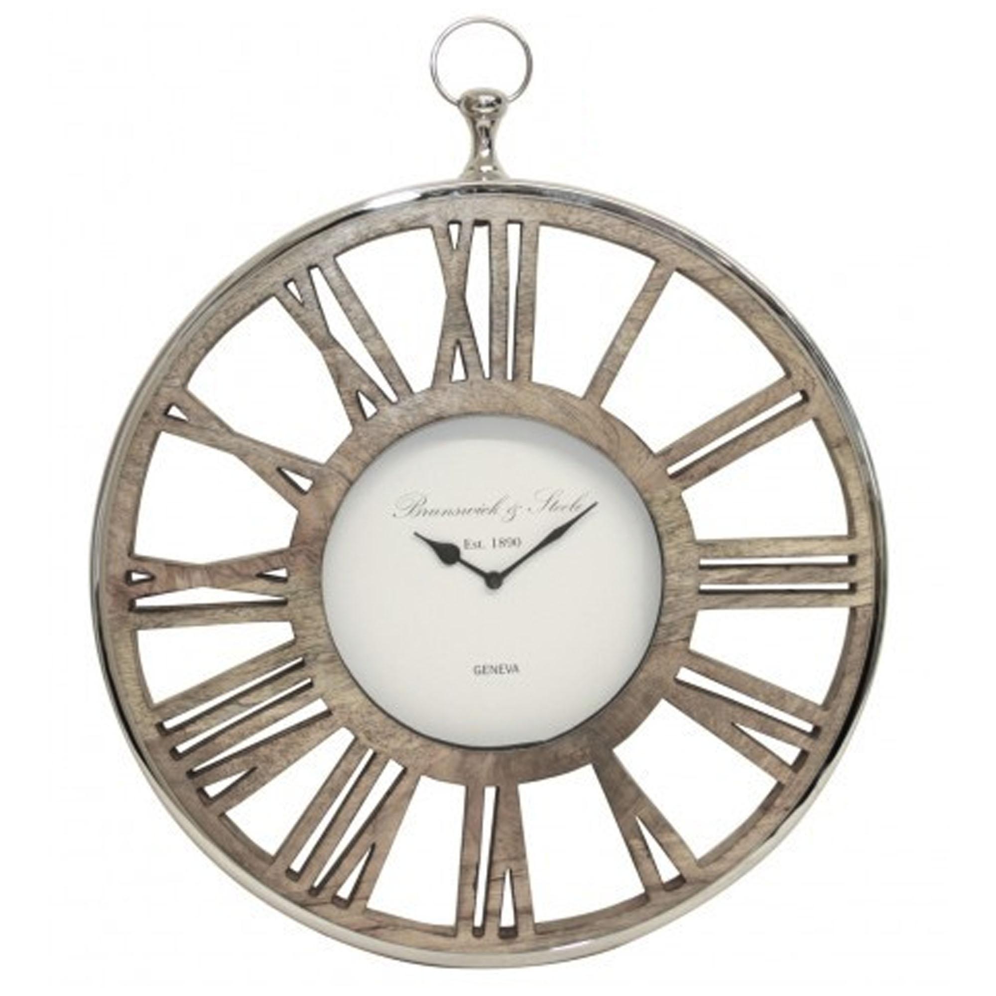 Bl Round Modern Nickel And Wooden Clock