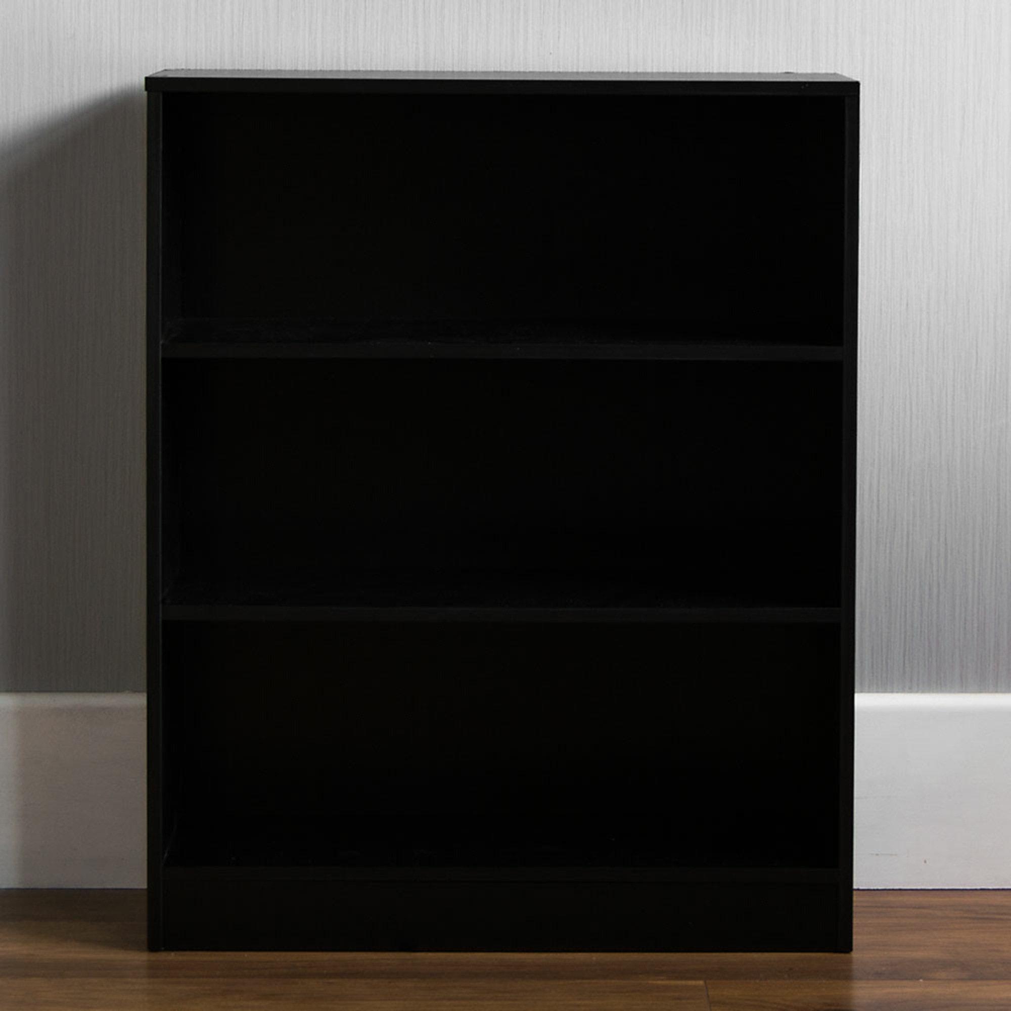 Black 3 Tier Low Bookcase