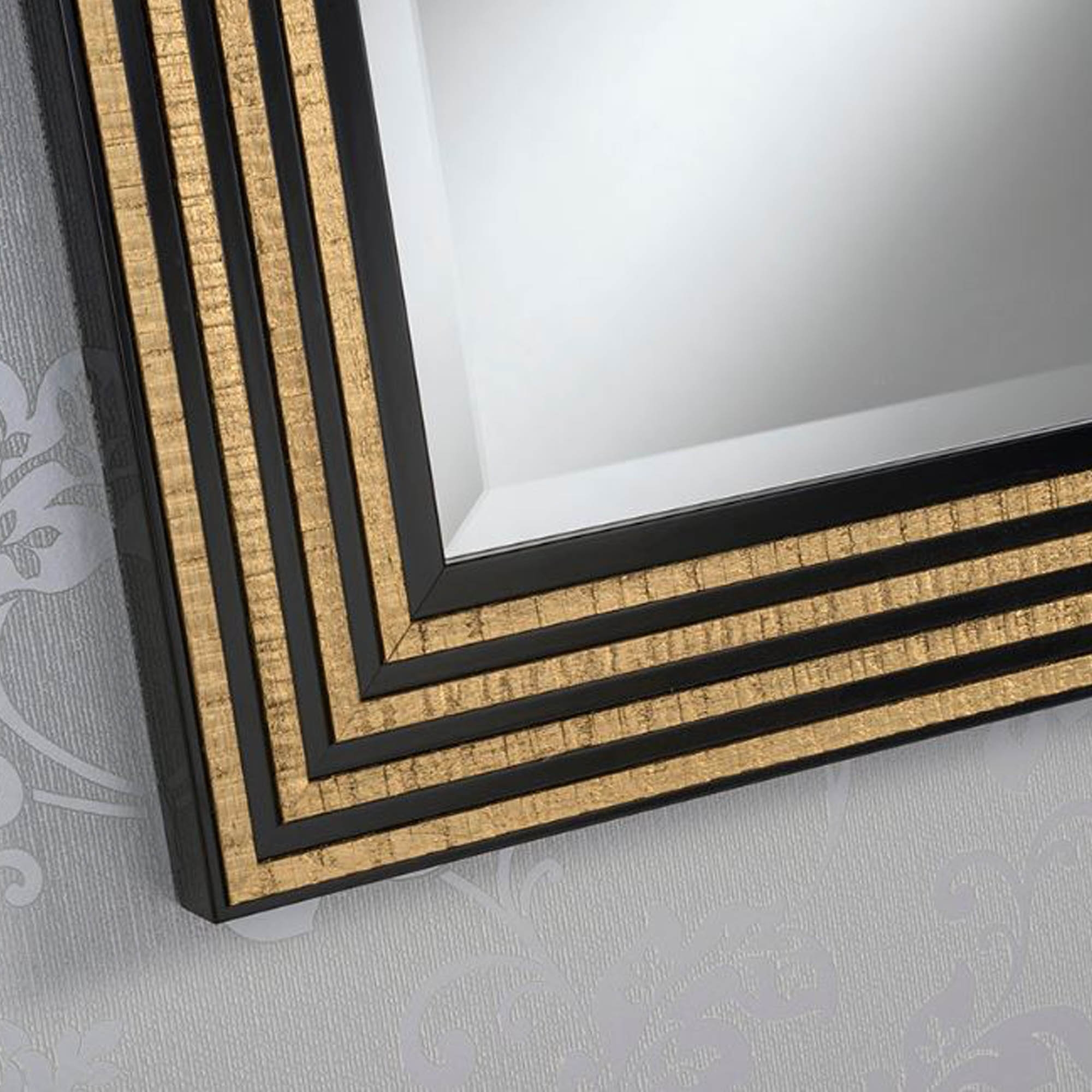Black And Gold Line Rectangular Wall Mirror Homesdirect365
