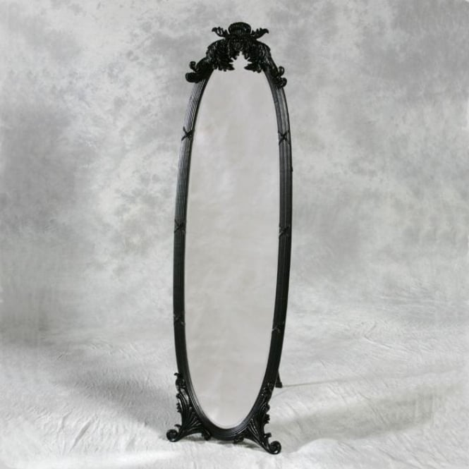 Black Antique French Style Cheval Mirror