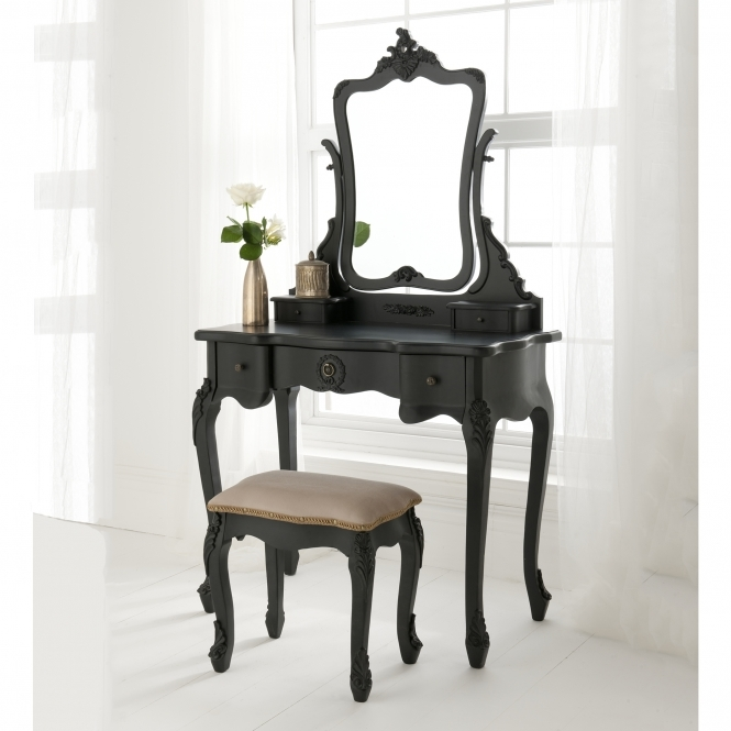 Black Antique French Style Dressing Table Set