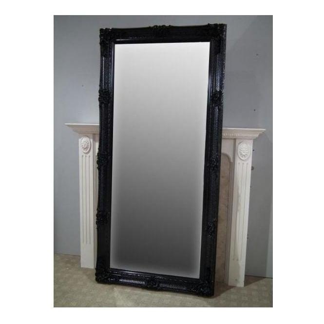 Black Antique French Style Floorstanding Mirror