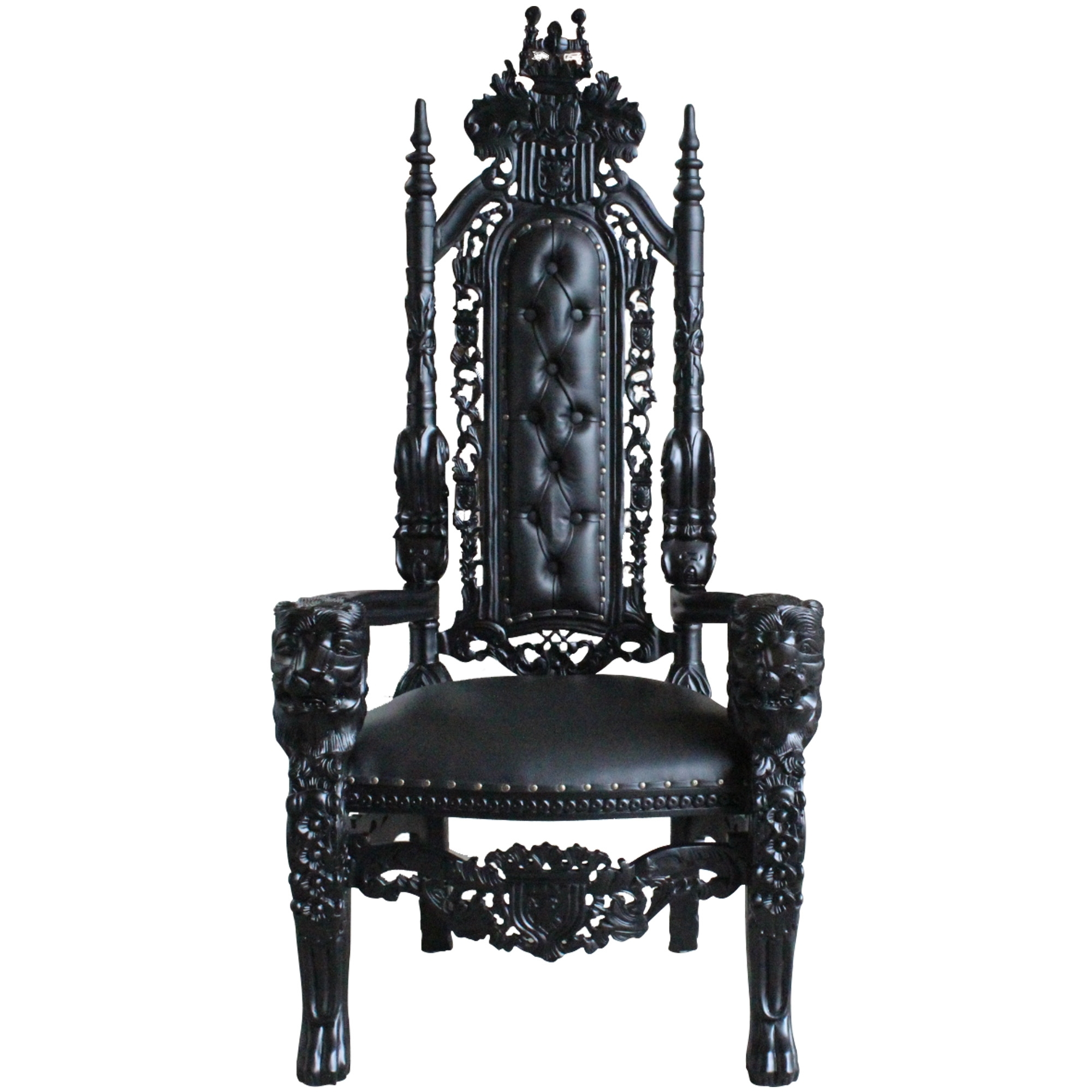 Black Antique French Throne Chair