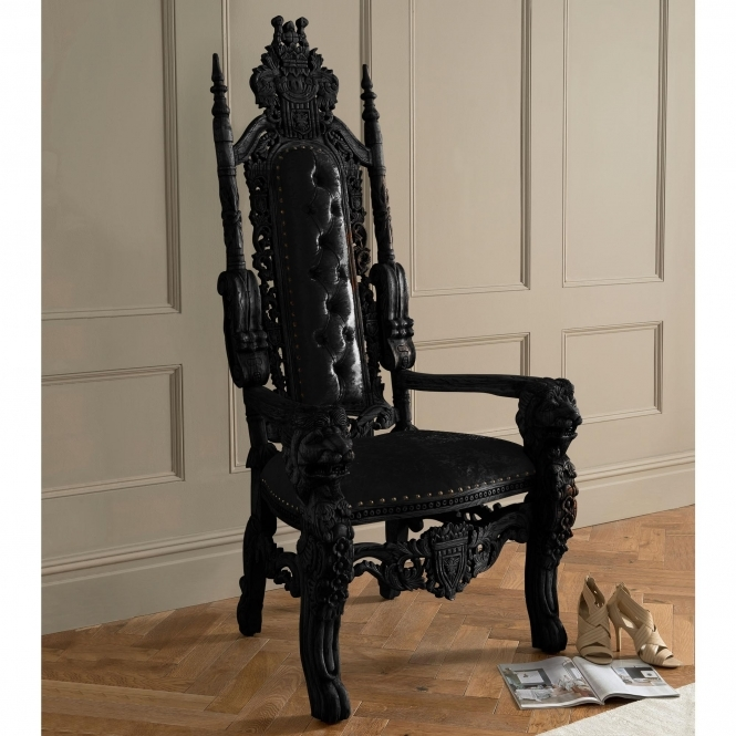 Black Antique French Style Throne Chair