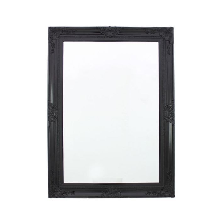 Black baroque antique french style wall mirror french for Baroque style wall mirror