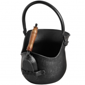 Black Brushed Steel Coal Bucket /w Shovel