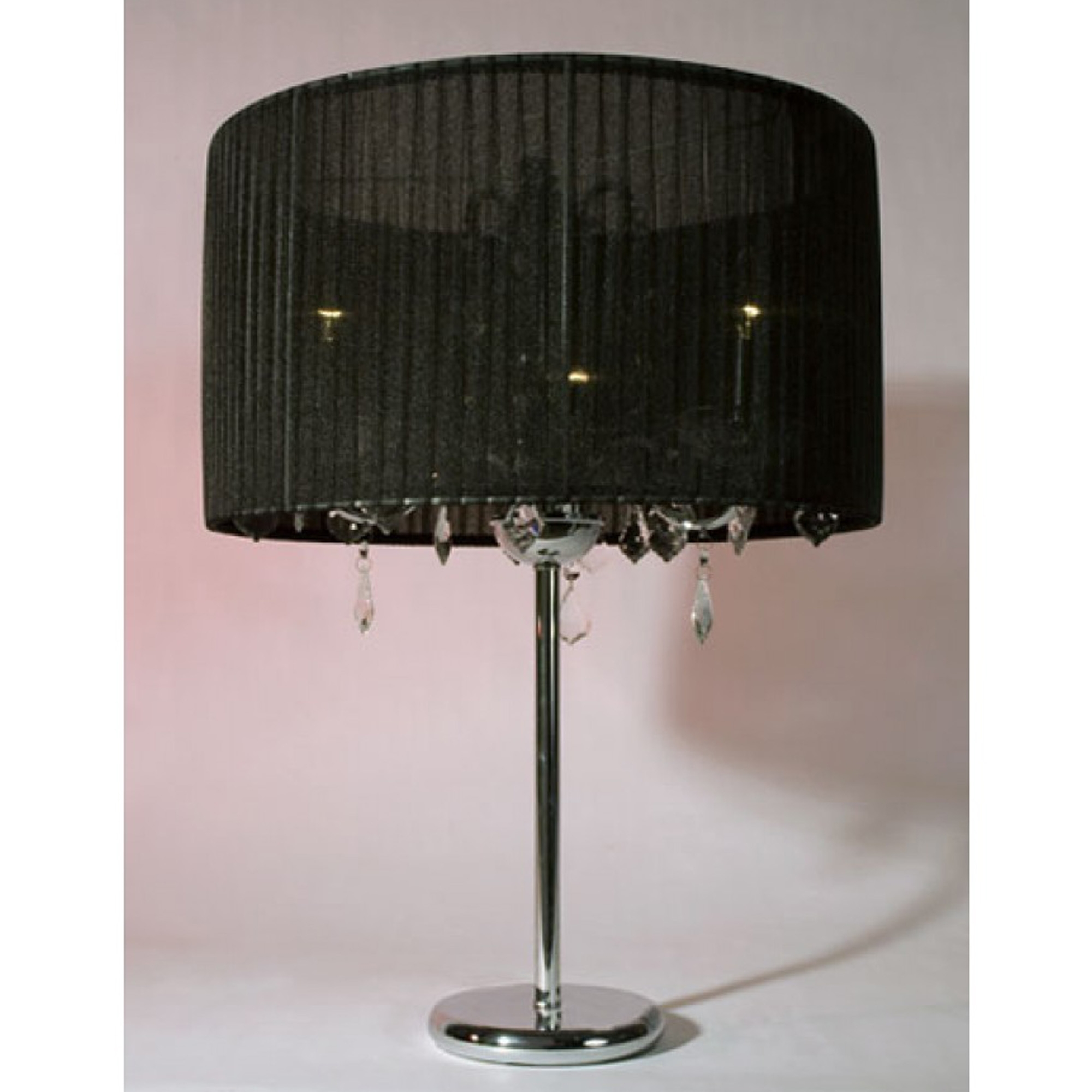 Black & Chrome Chandelier Style Table Lamp