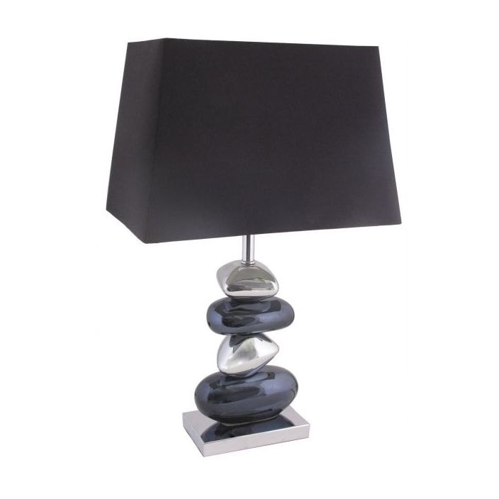 Black chrome pebble table lamp contemporary modern lamps black amp chrome pebble table lamp aloadofball Image collections