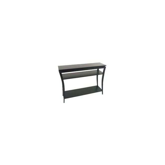 Black Console Table with 2 Shelves