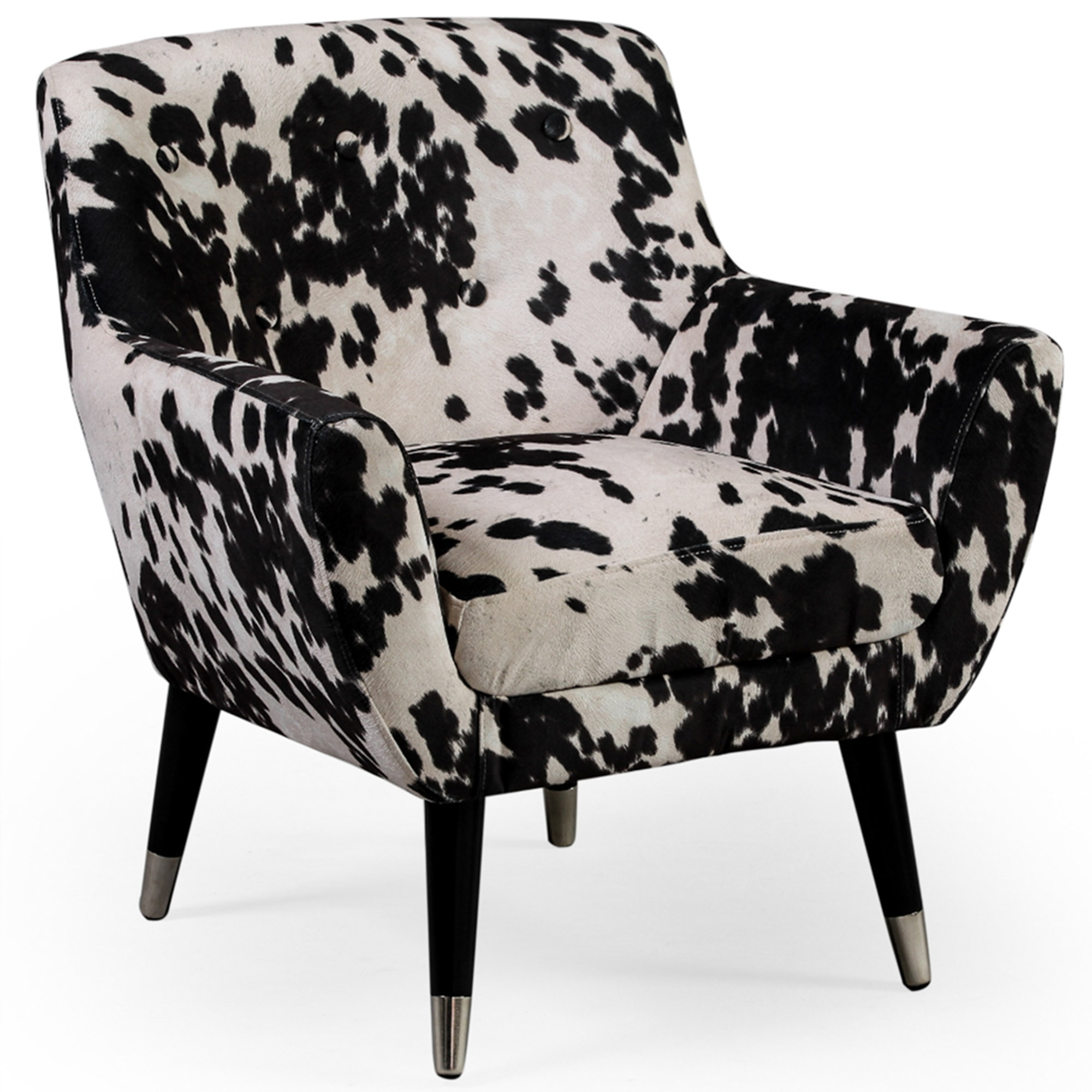 Black Cowhide Retro Armchair
