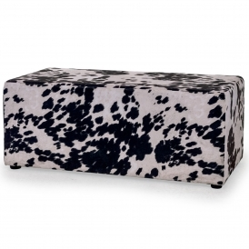 Black Cowhide Retro Footstool