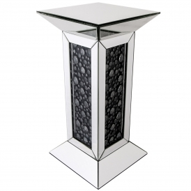 Black Diamond Mirrored Pillar Stand