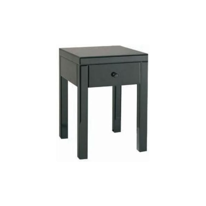 Black Glass Bedside Table