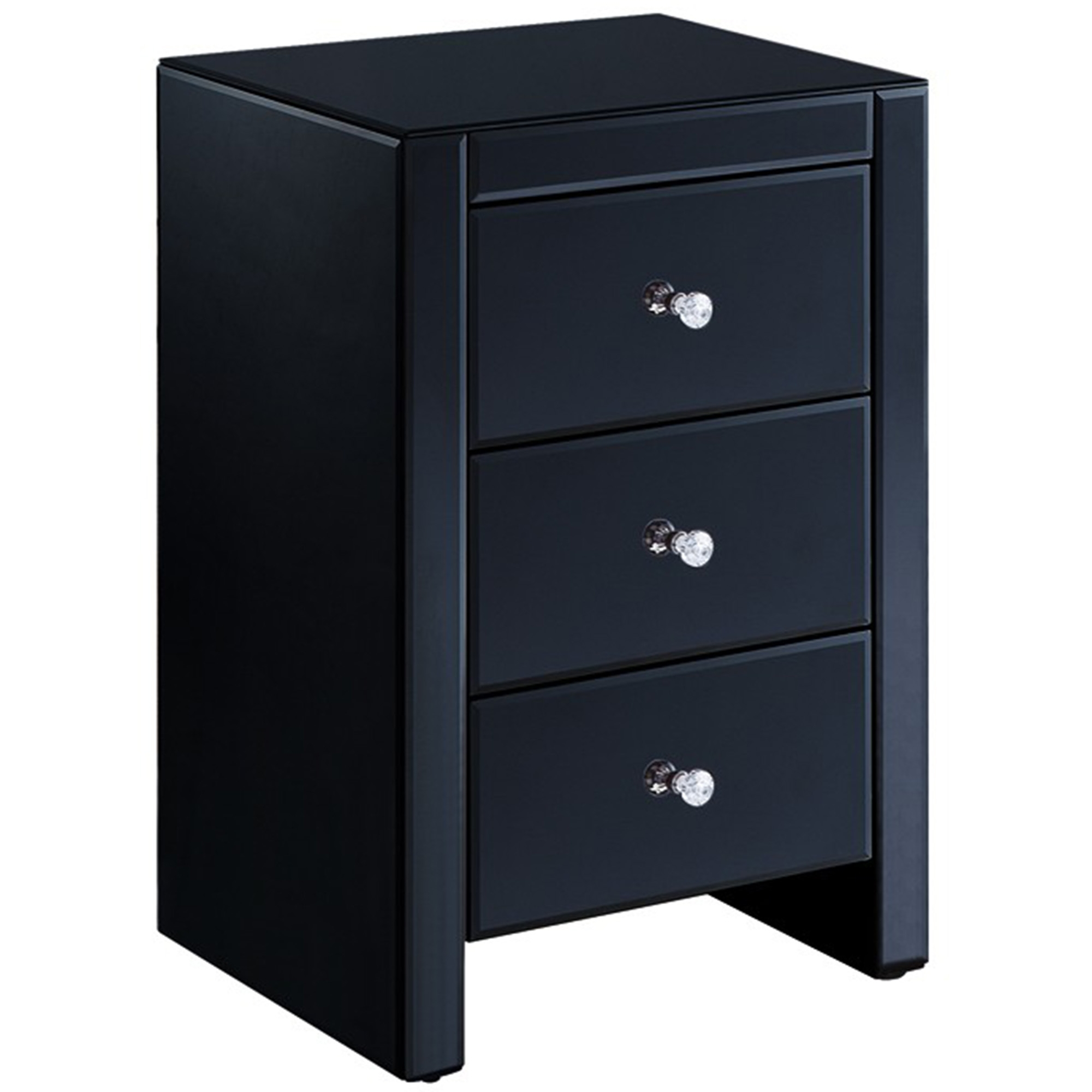 Black Glass Bedside Table French Furniture From