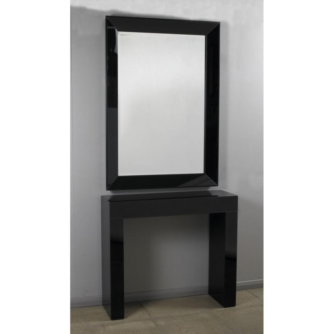 Black Glass Console & Mirror Set