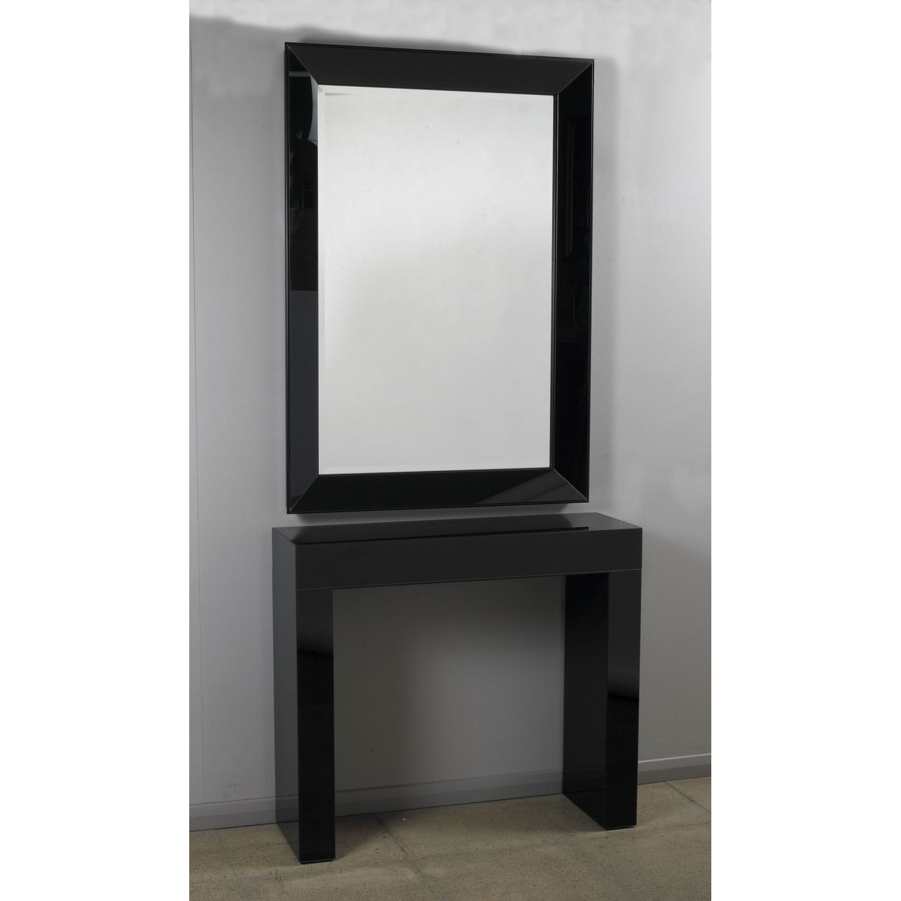 Black Glass Console Amp Mirror Set Glass Furniture From