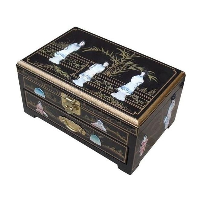 Black Lacquer MOP Jewellery Box with Chinese Lock