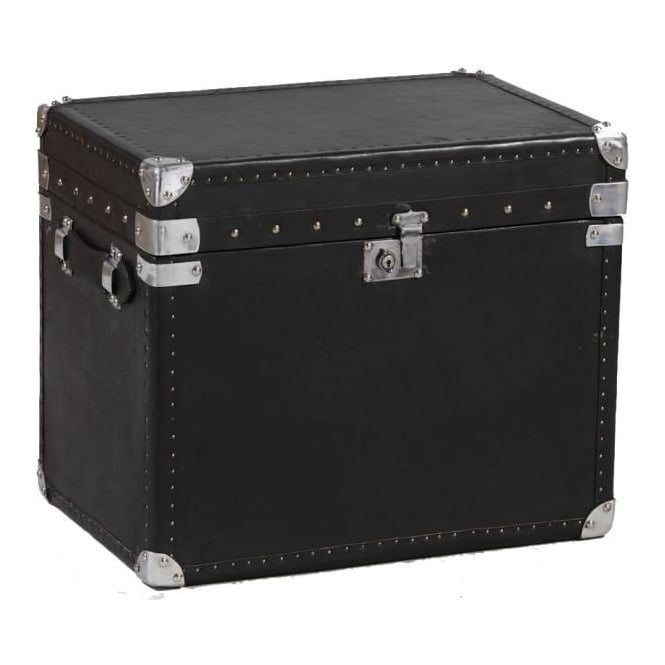Black Leather & Ali Wide Travel Trunk
