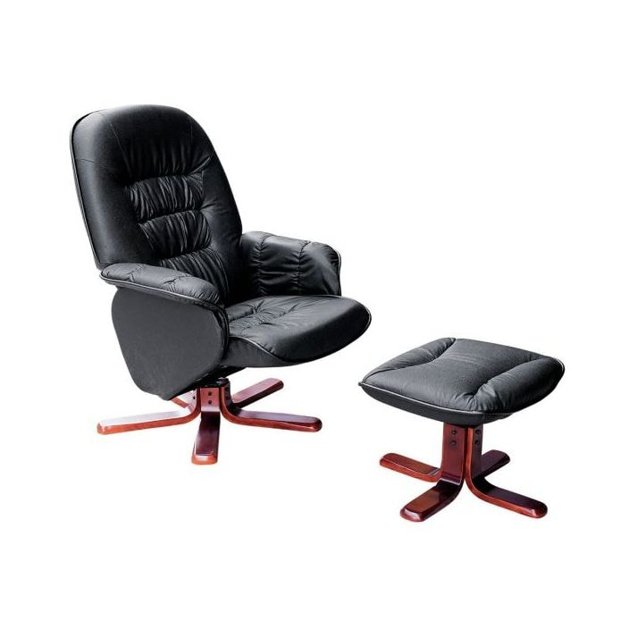 Admirable Black Leather Chair With Footstool Short Links Chair Design For Home Short Linksinfo