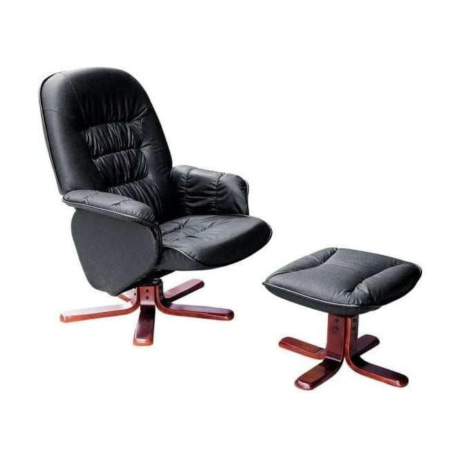 Black Leather Chair with Footstool