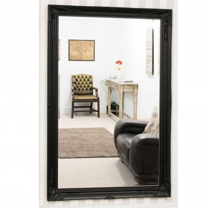 Black Ornate Antique French Style Mirror