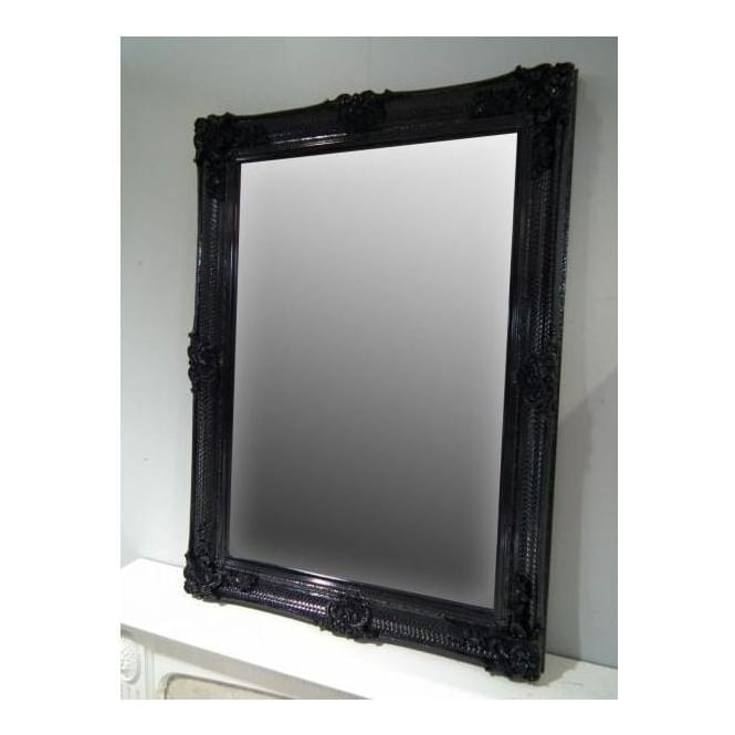 Black Ornate Antique French Style Wall Mirror