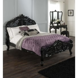 Black Rococo Antique French Style Bed