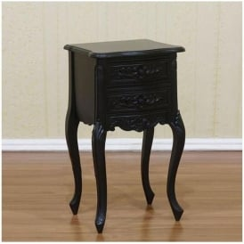 Black Rococo Antique French Style Nightstand