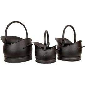 Black Set Of 3 Classic Scuttles