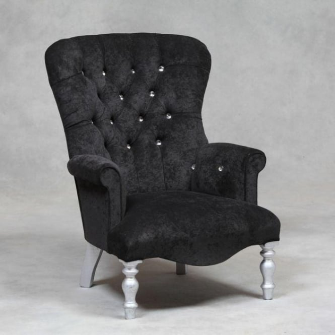 Black Velvet Antique French Style Chair