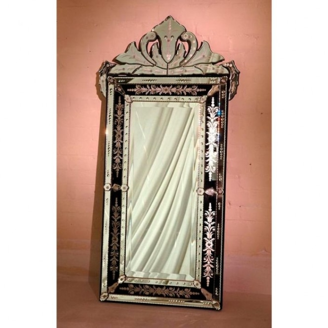 Black Venetian Mirror with Crown and Etching