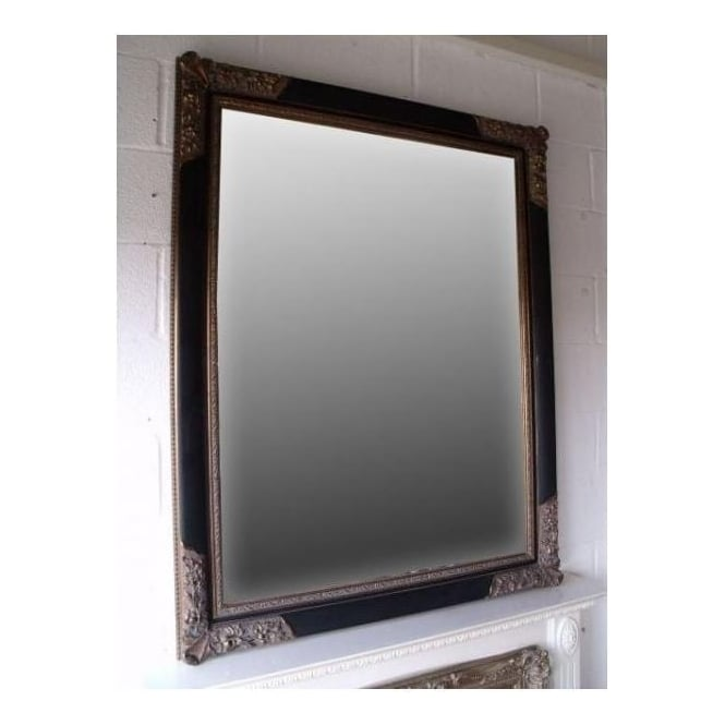 Black with Gold Antique French Style Wall Mirror