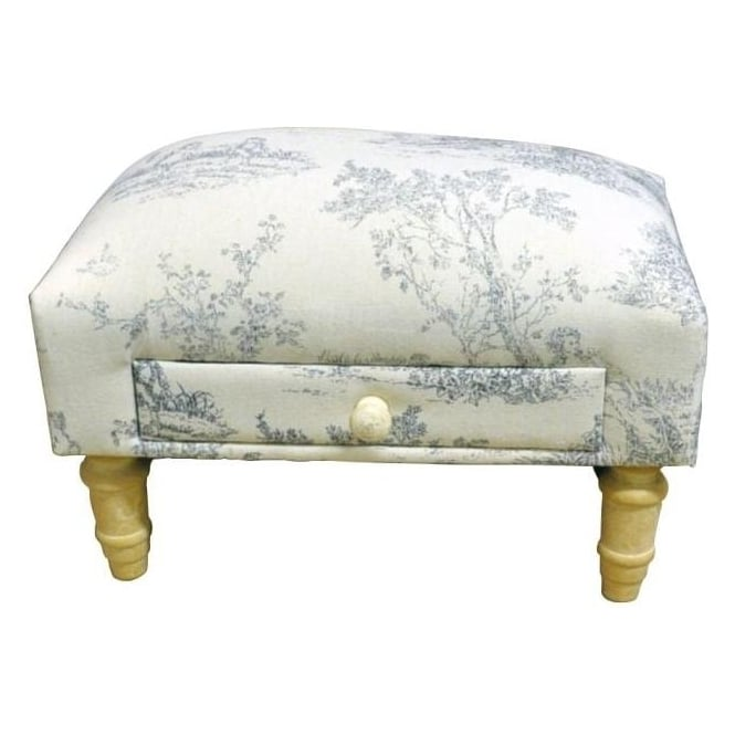 Blue Patterned Fabric Footstool