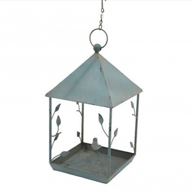 Blue Square Hanging Bird Feeder
