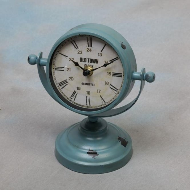 Blue Vintage Metal Shabby Chic Clock