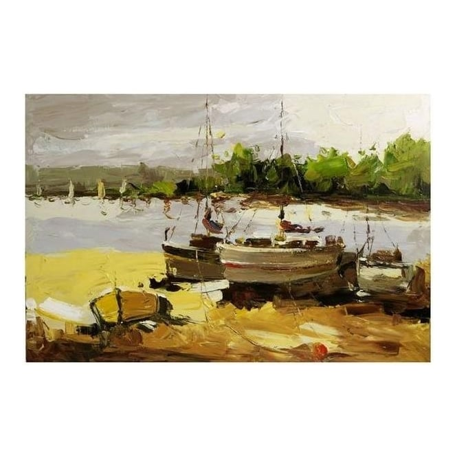 Boats At Lakeside Painting