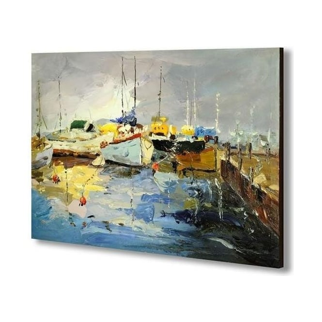 Boats By The Quayside Painting